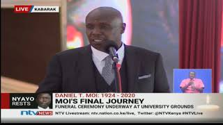 """Sio Doktari"": Gideon Moi jokes with Uhuru, Ruto as he gives vote of thanks 