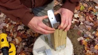 Yurt platform: adding brackets to 4x4 and attaching 4x6 beams
