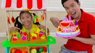 Wendy Pretend Play w/ Fruits Veggies & BIRTHDAY CAKE Food Toys at Grocery Store