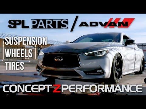 Infiniti Q60 Red Sport Suspension [PART 2] - SPL Arms, Advan GT Wheels, Tires, & Alignment!
