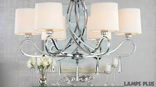 Chrome Swirl Glass Drop Chandelier