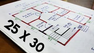 25 X 30 Ghar Ka Design II 750 Sqft House Plan II Ghar Ka Naksha II  3 Bhk Home Plan