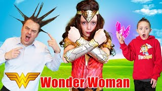 Wonder Woman Saves the Fun Squad from a Magic Wishing Stone with her Superhero Powers!