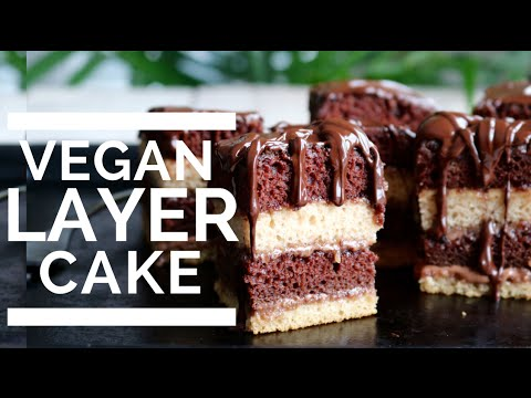 Video Chocolate & Vanilla Layer Cake | Vegan & Low Fat!