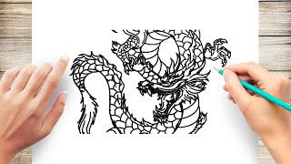 Advanced Drawing Chinese Dragon Full Body - Speed Drawing