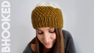 Double Moss Stitch Knit Hat (Easy to Follow for New Knitters!)