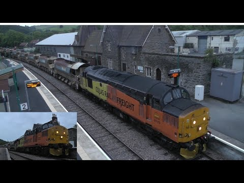 Colas Rail 37175 & 37219 on a Central Wales engineers train …