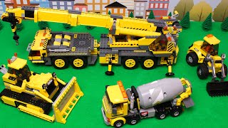 Lego Bulldozer, Concrete Mixer, Dump Truck, Crane, Tractors and experemetal cars and trucks for Kids