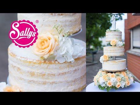 Hochzeitstorte dreistöckig/ naked Cake / Eistorte mit Pfirsich-Mango-Parfait / Wedding Cake