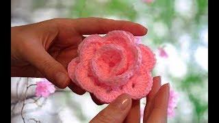 Цветок РОЗА крючком. Розочка на детскую шапочку. Пошаговый МК для начинающих