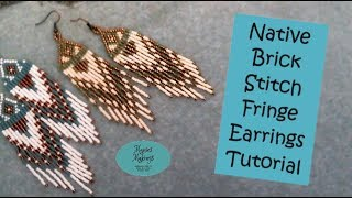 Native Brick Stitch Fringe Earrings Tutorial