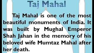 Essay on Taj Mahal in English by Smile Please World