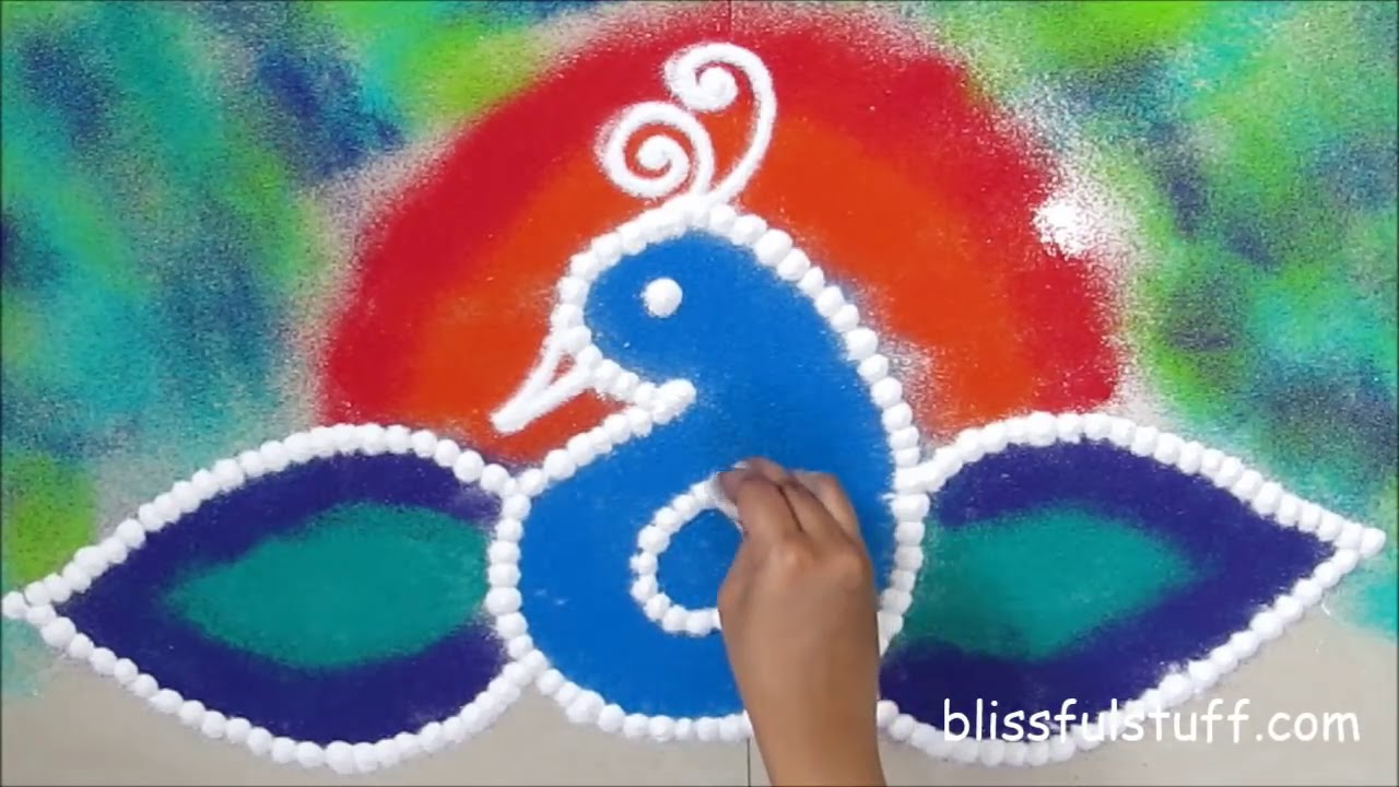 beautiful sanskar bharati peacock rangoli design by poonam borkar