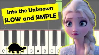 Into the Unknown piano tutorial easy slow one hand