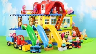Peppa Pig House Construction Sets - Lego Duplo House With Water Slide Creations Toys For Kids #3