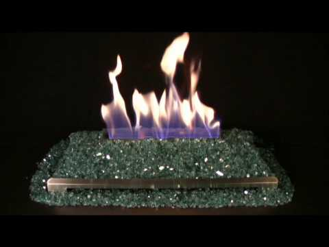 Alterna Blue/Green FireGlitter Set for See-through Fireplaces - Vent-Free Stainless Steel Chassis Burner