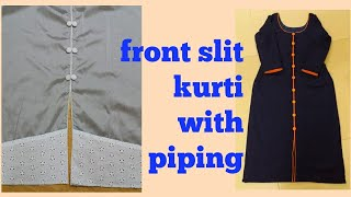 Front Open Kurti With Piping And Fabric Button Easy Method|stitching In Malayalam|front Slit Kurti