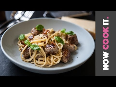 Easy Sausage Spaghetti Carbonara Recipe! | Now Cook It