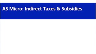 AS Economics Revision Webinar: Indirect Taxes And Subsidies