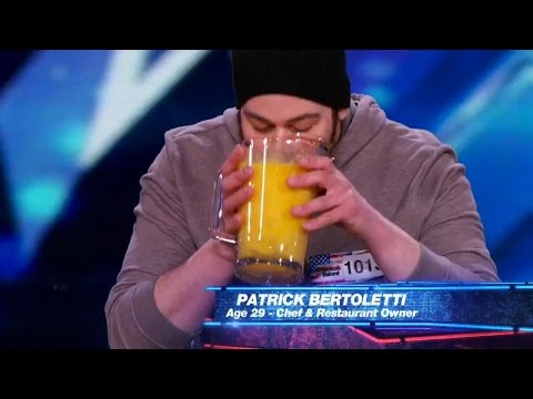America's Got Talent 2015 S10E07 Patrick Bertoletti Competitive Eater Sucks Down Record 120 Raw Eggs