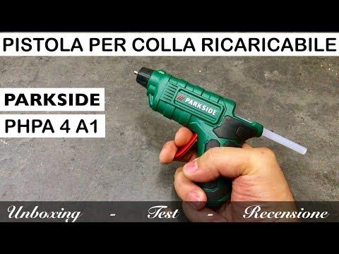pistola RICARICABILE per colla a caldo PARKSIDE. PHPA 4 A1 a batterie ricaricabile. Recensione. lidl