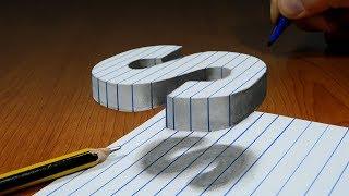 3D Trick Art On Line Paper, Floating Letter S