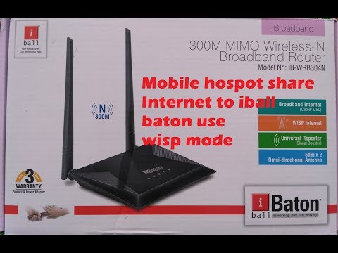 iball baton 300m wireless-n router setup II iball baton connect  With Mobile Hospot