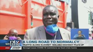 Truck drivers stuck in traffic along the Eldoret Malaba highway,