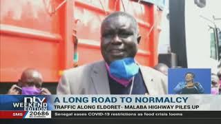 Truck drivers stuck in traffic along the Eldoret Malaba highway,