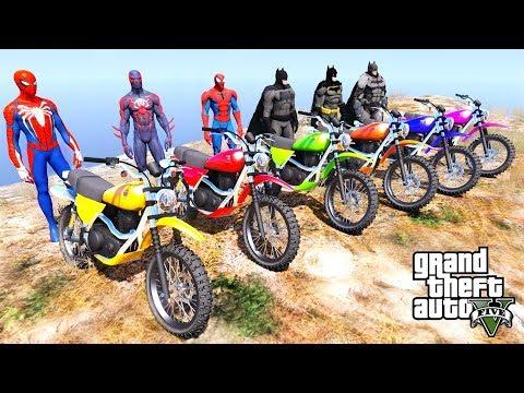 Download TEAM SpiderMan VS TEAM Batman Motorcycle Mountain Stunt Challenge - GTA V MODS HD Mp4 3GP Video and MP3
