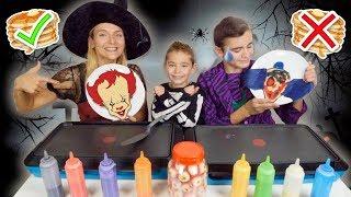 PANCAKE ART CHALLENGE 6 !!! - Halloween Édition : Clown Tueur, Zombie, Citrouille ...