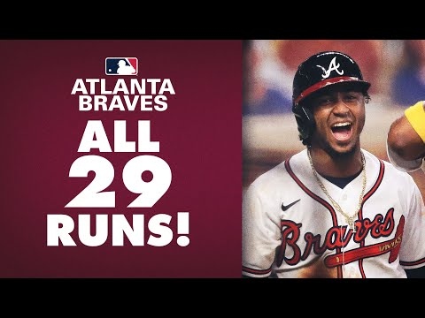 29 RUNS! All runs from the Braves 29-9 win over the Marlins! (NL Record)