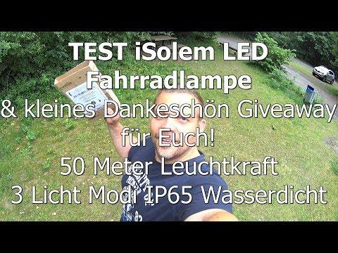 Test iSolem LED Fahrradbeleuchtung TOS-T0025 50M Leuchtkraft IP65 Wasserdicht