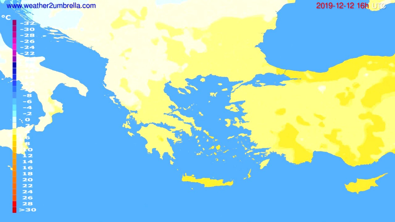 Temperature forecast Greece // modelrun: 12h UTC 2019-12-11