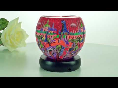 Leuchtglas elektrisch, Motiv 641 red city, Lampe, Mitbringsel, Geschenk, Kerzenfarm