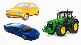 Развивающий Мультик для Детей Цветные Машинки и Трактор Учим Цвета Мультфильмы для Малышей