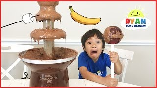 CHOCOLATE FONDUE CHALLENGE with gummy vs real food taste test and giant chupa chups lollipops