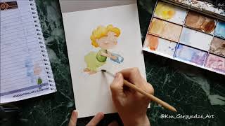 Watercolor In Progress / Painting Watercolor Illustration For Picture Book / Fairy Tale Illustration