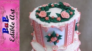 Pink Cornelli Lace Wedding Cake Top Tier