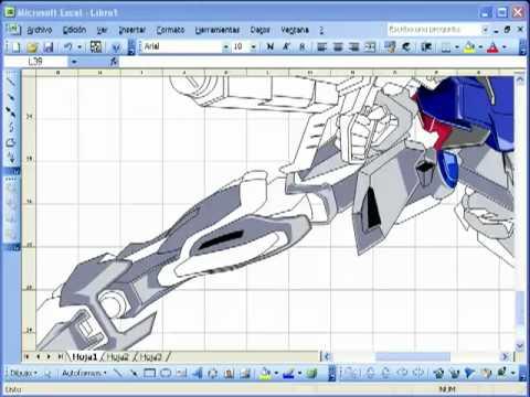 Vẽ Robo bằng Excel ( giờ mới biết Excel có thể vẽ hình được )