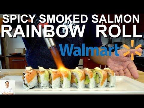 Level 2 Walmart Sushi Challenge | Spicy Smoked Salmon Rainbow Roll