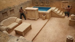 Building Underground Living Room and Swimming Pool in The Most Modern Underground Mansion