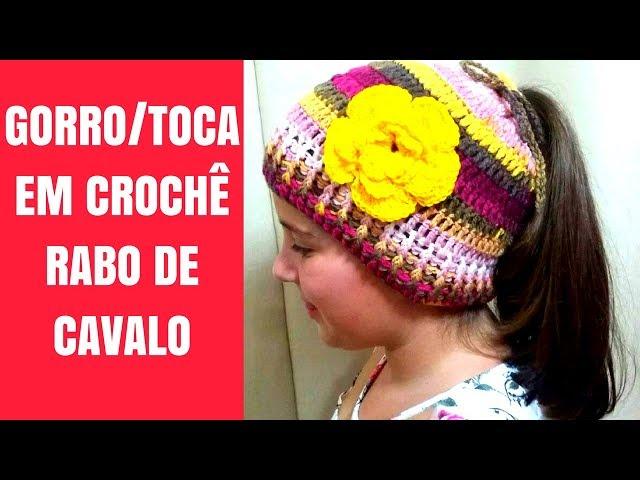 TOUCA GORRO EM CROCHÊ (RABO DE CAVALO)  ca26117fd90