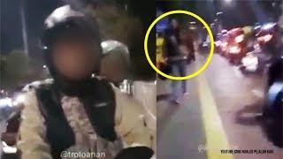Ditegur saat di Trotoar, Wanita Pengendara Motor Pukul Pejalan Kaki Pakai Helm