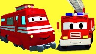 Поезд Трой и Пожарный автомобиль Фрэнк, Экскаватор, Кран, Самосвал в Автомобильный Город