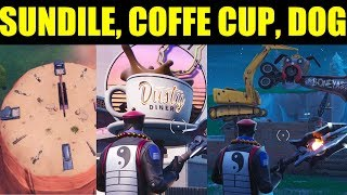 """""""Dance on a Sundial, Oversized Cup of Coffee & Metal Dog Head"""" Locations Fortnite Challenges"""