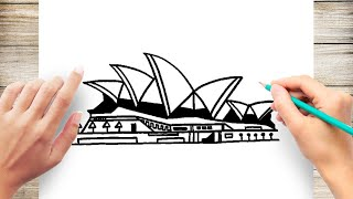 How To Draw Sydney Opera House Step by Step