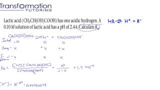 Calculate Ka of a 0.10 M solution of lactic acid has a pH of 2.44