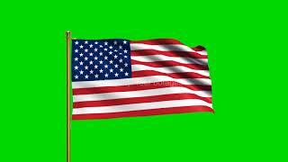 U.S. Flag waving American Flag | United States flag | US Flag green screen | Royalty Free Footages