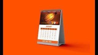 Calendar Design (2019 Desk Calendar)-Photoshop Tutorial